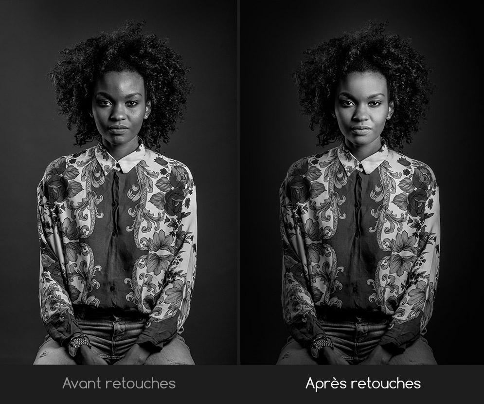 portrait femme noir et blanc avant après