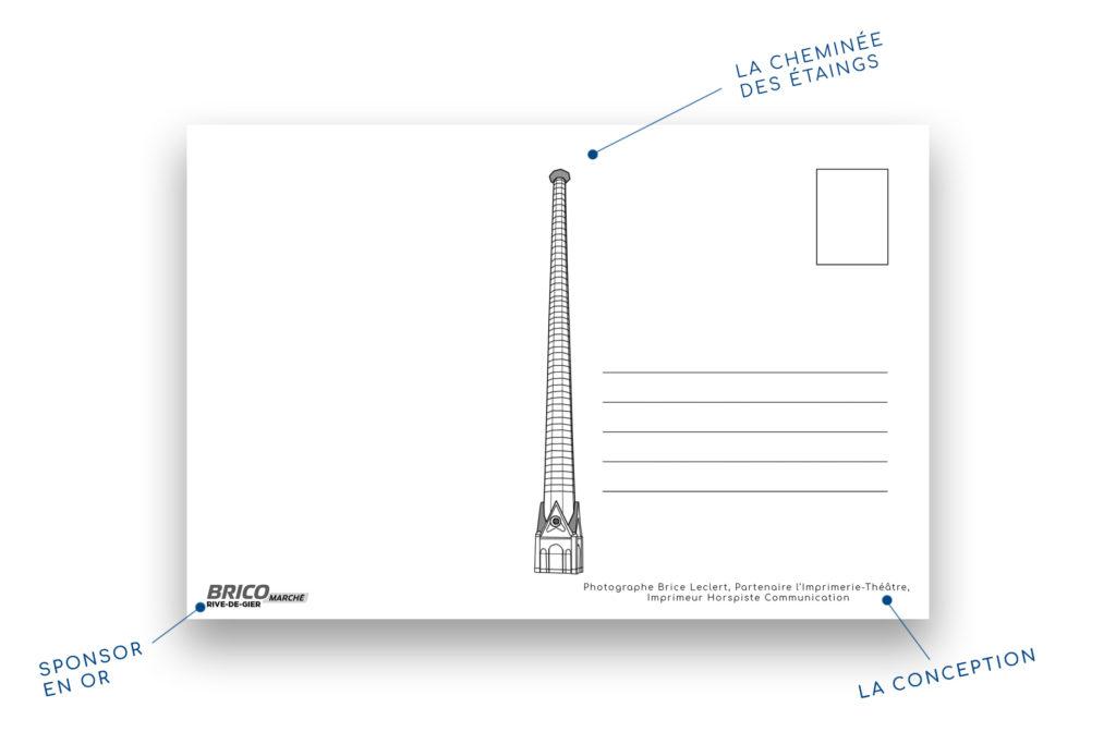 verso de la carte postale avec les sponsors